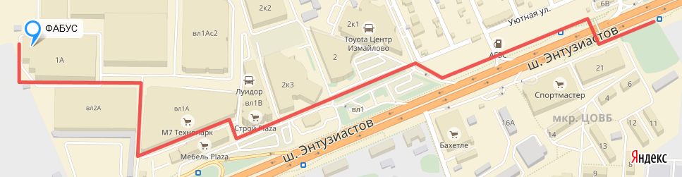 Как пройти пешком от остановки 2-е Ворота до компании Фабус